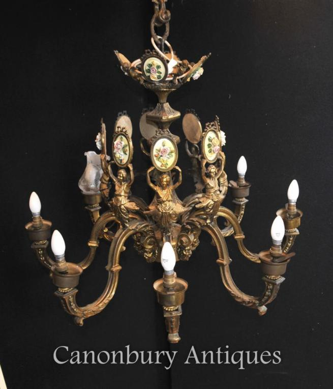 Antique French Empire Chandelier Ormolu Cieling Light Fixture