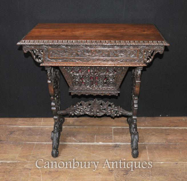 Antique Hand Carved Burmese Desk Writing Table 1890 Hardwood