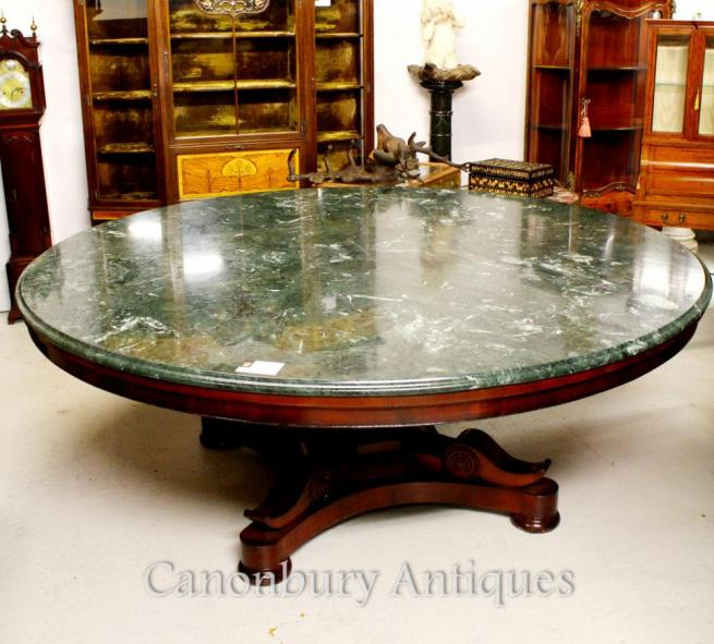 Antique Regency Centre Dining Table Marble Top Mahogany Tables