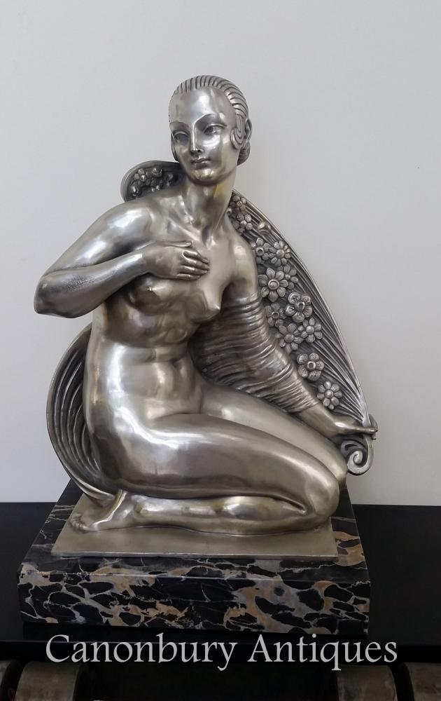 Art Deco Bronze Beauty of Paris Statue by Joe Descomps