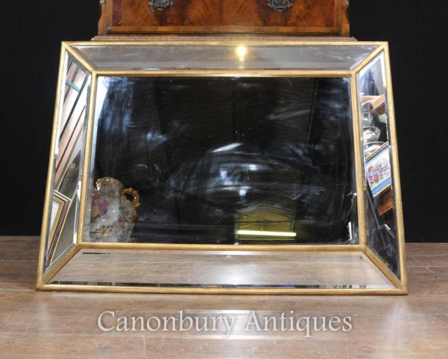 Art Deco Glass Mantle Mirror Gilt FrameArt Deco Glass Mantle Mirror Gilt Frame