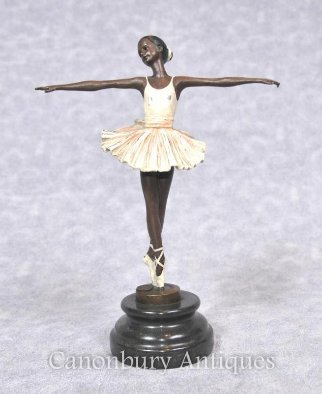 Bronze Ballet Dancer Statue Figurine Signed French