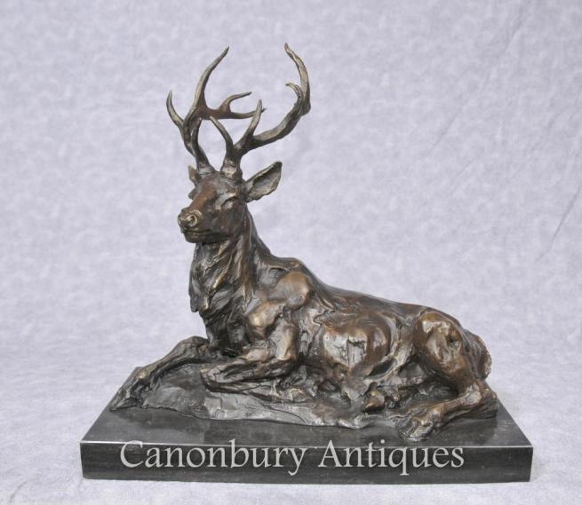 Bronze Recumbent Stag Statue Sculpture Scottish Stags