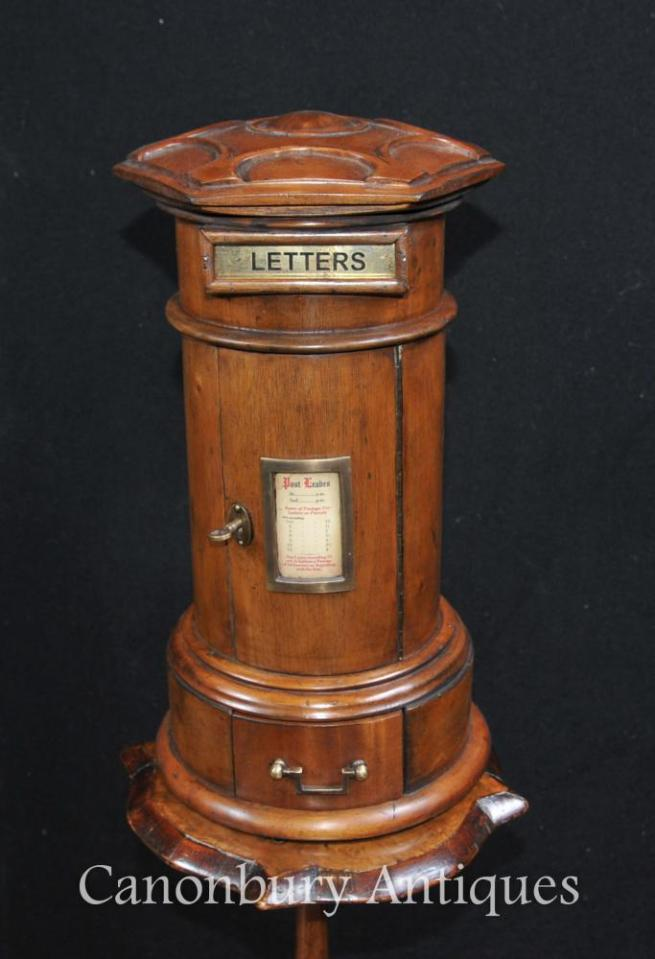 Carved Walnut English Post Box Letter Boxes Cabinet