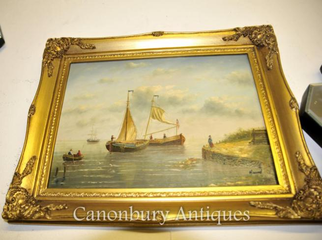 Dutch Oil Painting Sea Scape Two Sail Boats Signed