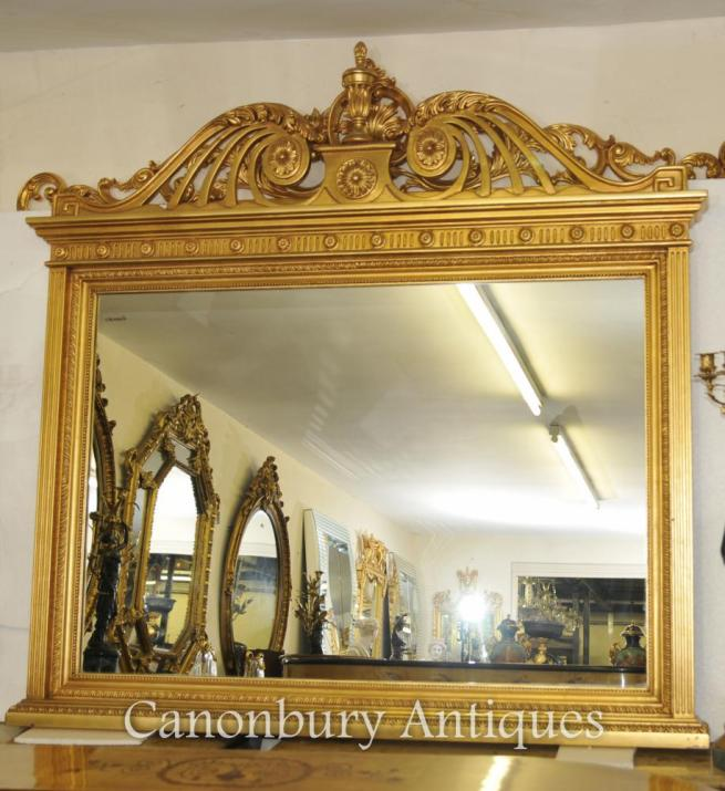 English Adams Gilt Mantle Mirror Glass Mirrors