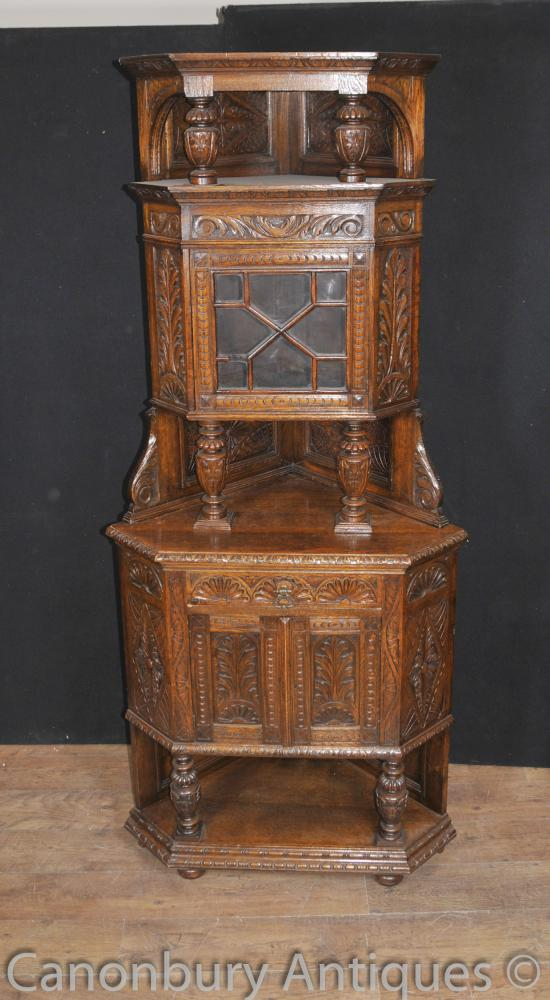 English Antique Carved Oak Jacobean Corner Cabinet 1890s