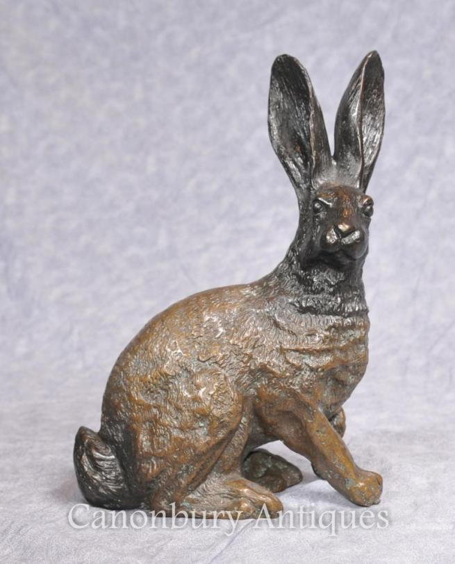 English Bronze Casting Hare Statue Country Rabbit Bunny