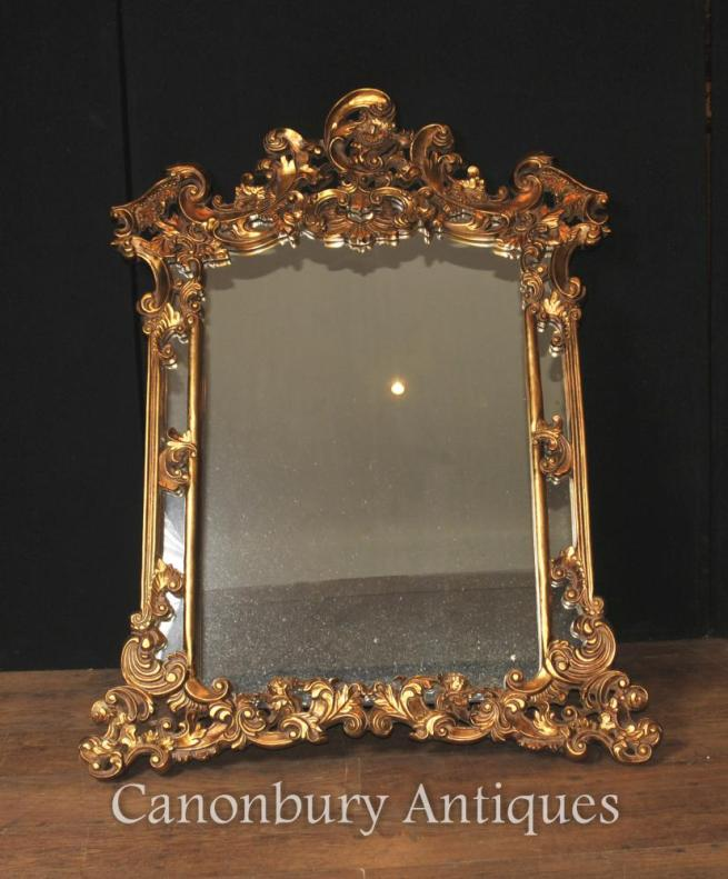 English Gilt Chippendale Mantle Mirror Rococo Frame Glass