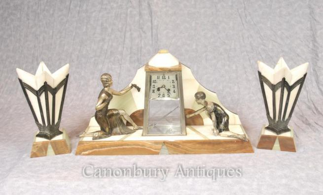 French Antique Art Deco Mantle Clock Set Spelter Figurine 1920s Marble Urns