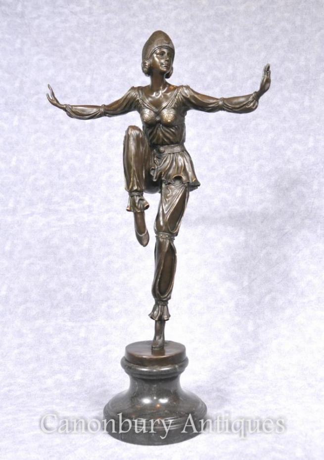 French Art Deco Bronze Egyptian Dancer Flapper Figurine Statue