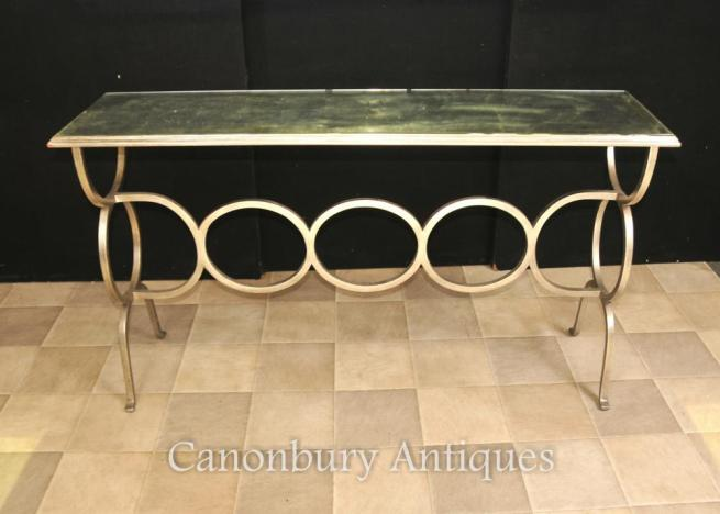 French Art Deco Mirrored Console Table Steel Base