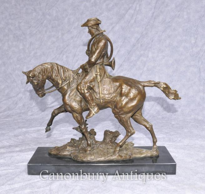 French Bronze Hunter Horse Casting Huntsman Horseback Sculpture