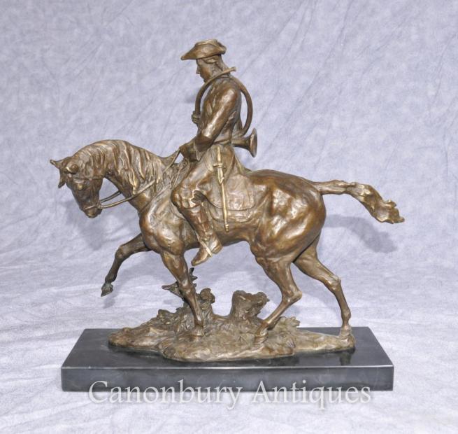 French Bronze Hunter Horse Casting Huntsman Horseback Sculpture