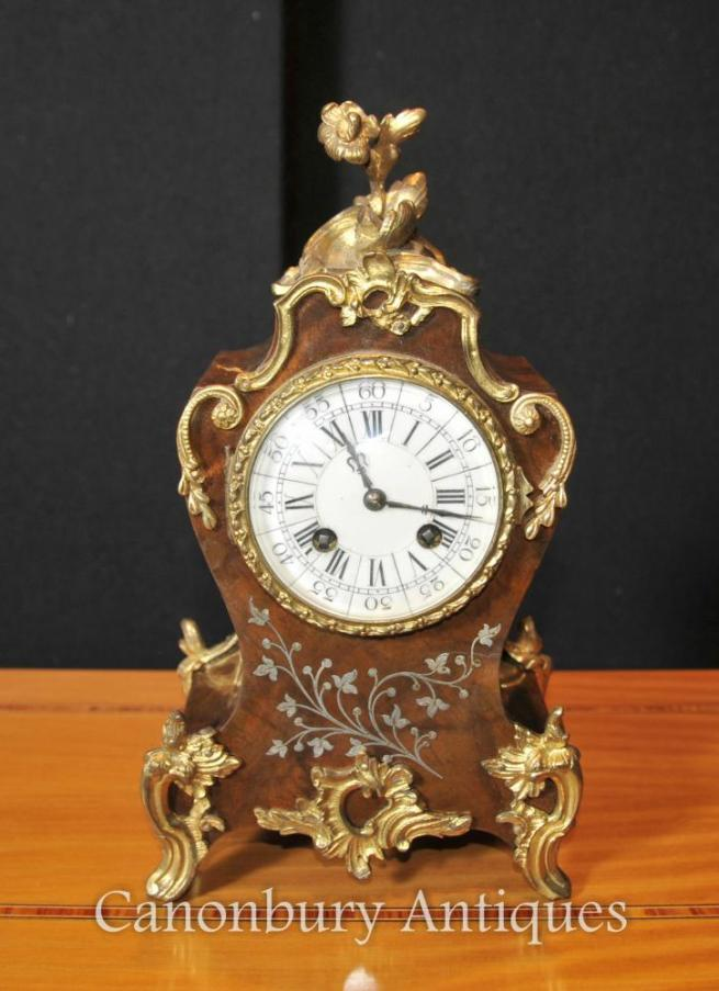 French Empire Antique Rococo Mantle Clock Mother of Pearl Inlay