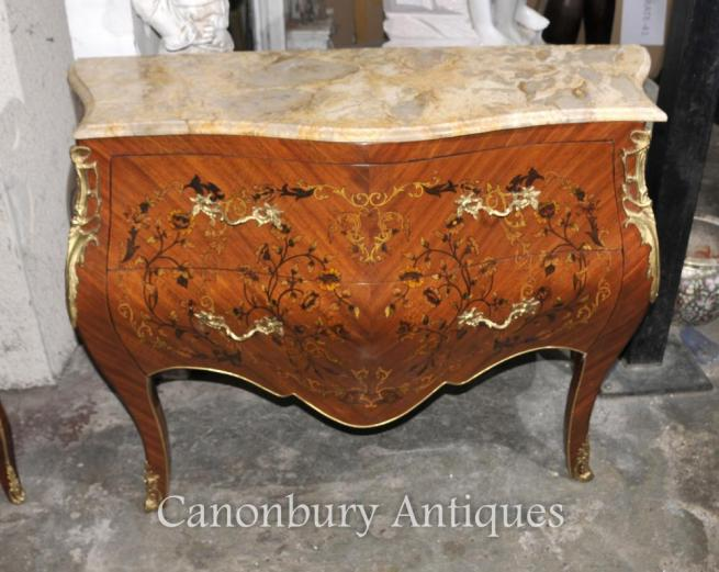 French Empire Bombe Commode Chest of Drawers Floral Inlay