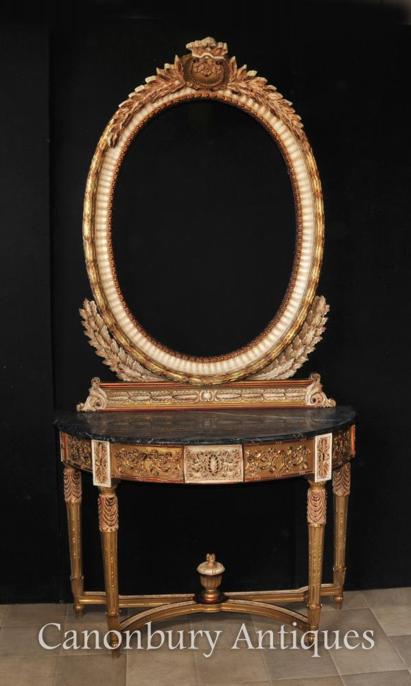 French Empire Console Table and Mirror Set Tables Interiors