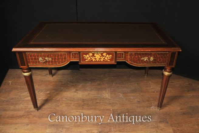 French Empire Desk Writing Table Bureau Parquetry Inlay