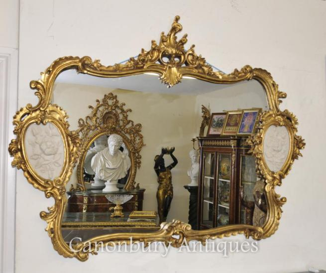 French Louis XVI Gilt Mantle Mirror Alabaster Plaques