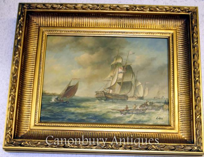 French Oil Painting Galleon Oil Painting Maritime Seascape