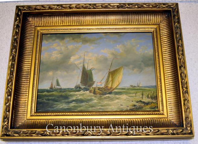 French Oil Painting Maritime Sea Scape Normandy Coast Sailboat