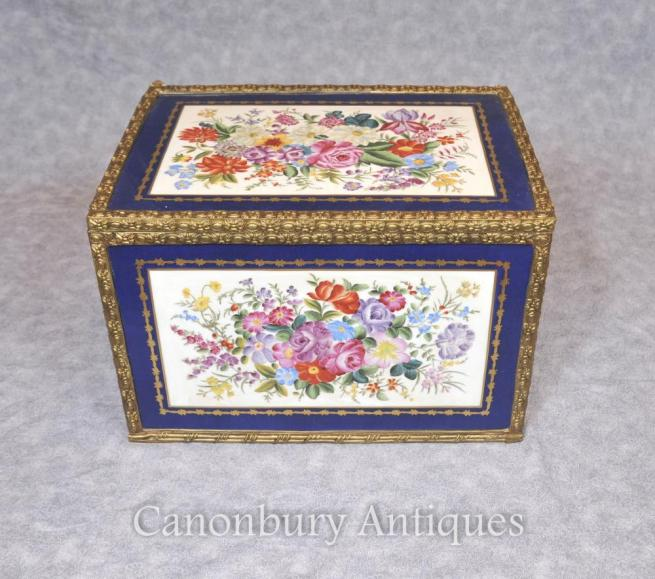 French Paris Sevres Porcelain Jewellery Box Trinket Case