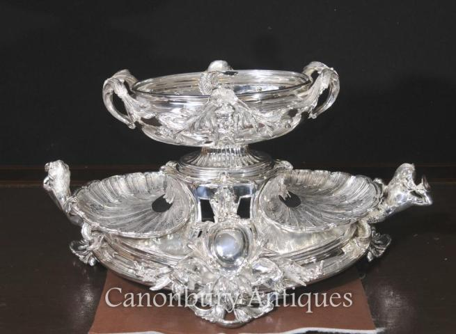 George III Silver Plate Centrepiece Rococo Epergne Clam Dish