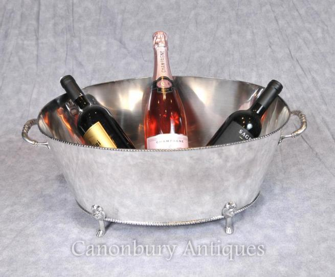 George III Silver Plate Wine Cooler Bucket Champagne Planter