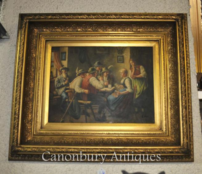 German Oil Painting Alpine Parlour Gilt Frame Signed