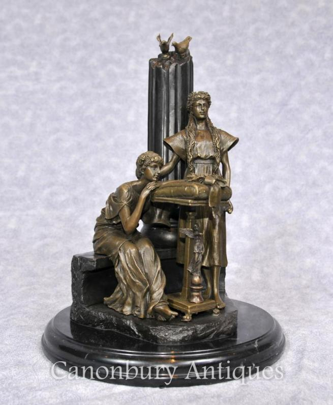 Italian Bronze Classical Maidens Statue Female Figurine Column