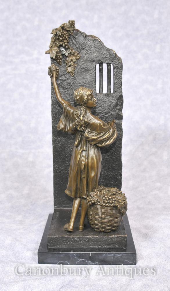 Italian Bronze Girl Grape Picker Statue Classical Art Signed Milo