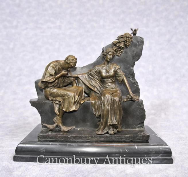 Italian Bronze Roman Lovers Statue Signed Milo Maiden Toga Kiss Classical