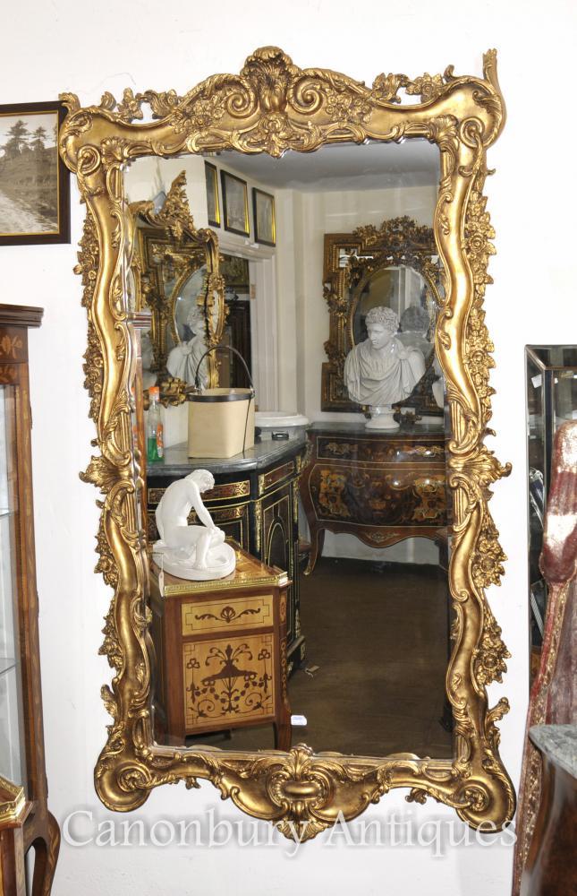 Italian Rococo Gilt Pier Mirror Glass Frames Mirrors