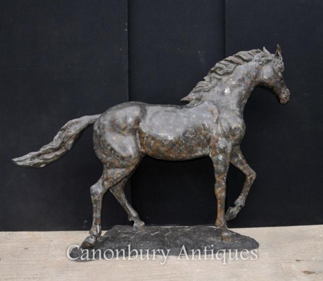 Large French Bronze Horse Pony Statue Casting Verdis Gris Colt