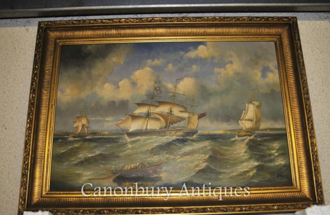 Large French Empire Oil Painting Sea Scape Maritime Art