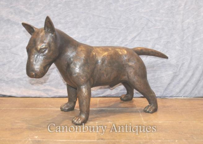 Lifesize English Bronze Bull Terrier Dog Statue Casting