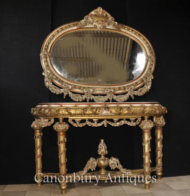 Louis XVI Painted Console Table and Mirror Set Rococo Furniture