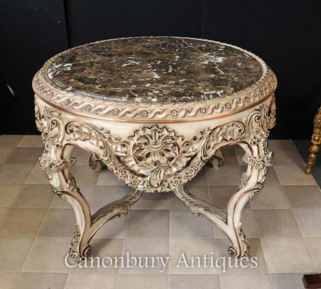 Louis XVI Painted Round Centre Dining Table Center