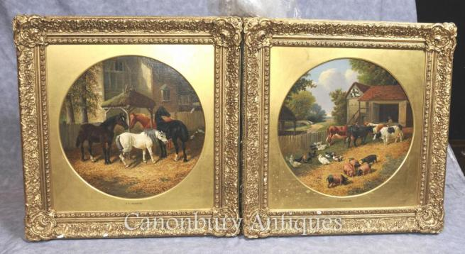 Pair Antique Oil Paintings Rustic Farm Scene After J Herring