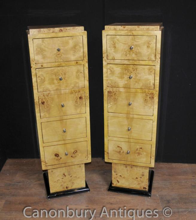 Pair Art Deco Tall Boy Chests of Drawers Cabinets