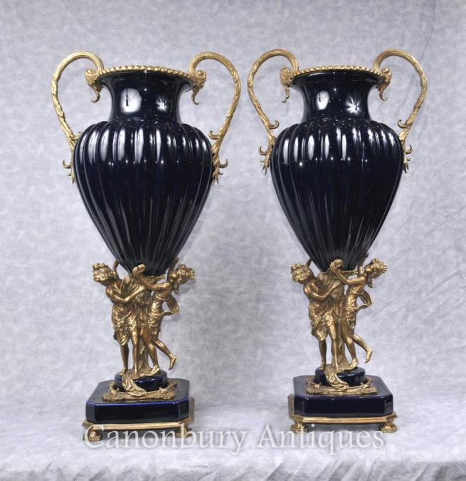 Pair Big French Empire Porcelain Vases Ormolu Maiden Amphora Urn