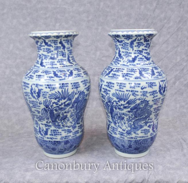 Pair Chinese Blue and White Nanking Porcelain Dragon Vases Urns
