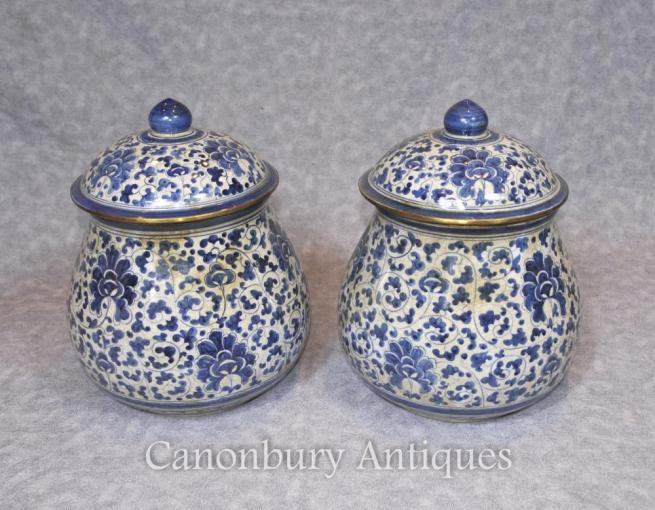 Pair Chinese Blue and White Porcelain Lidded Urns Kangxi Ceramic