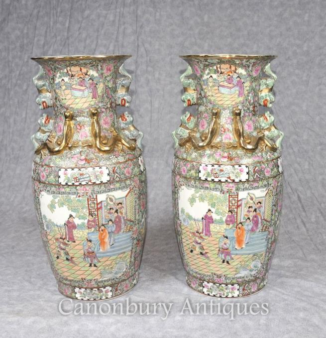 Pair Chinese Cantonese Vases Urns Painted Foo Dogs Canton