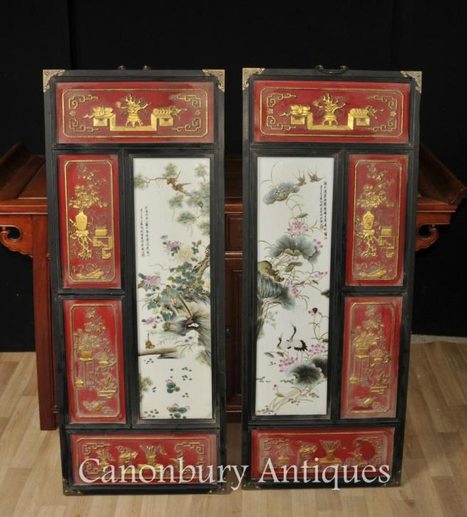 Pair Chinese Imperial Red Porcelain Plaques Qianlong Pictures