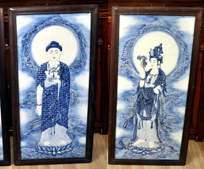 Pair Chinese Nanking Blue and White Porcelain Plaques Male Buddha Female
