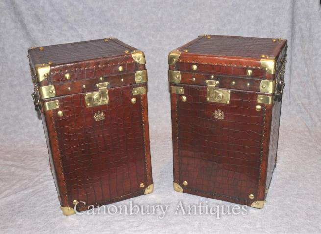 Pair Crocodile Skin Luggage Case Steamer Trunk Side Tables