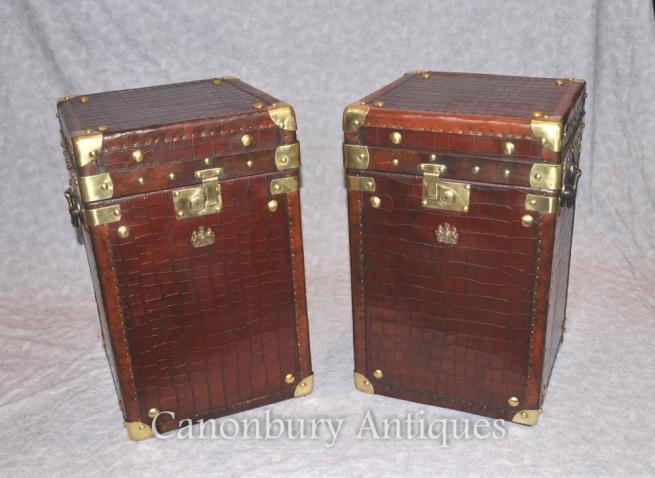 Pair Crocodile Skin Luggage Case Steamer Trunk Side Tables