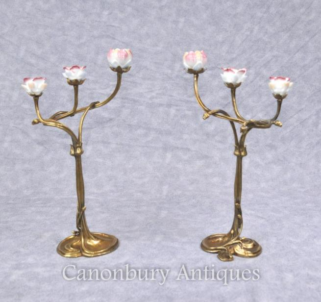 Pair French Art Nouveau Ormolu Candelabra Candelsticks