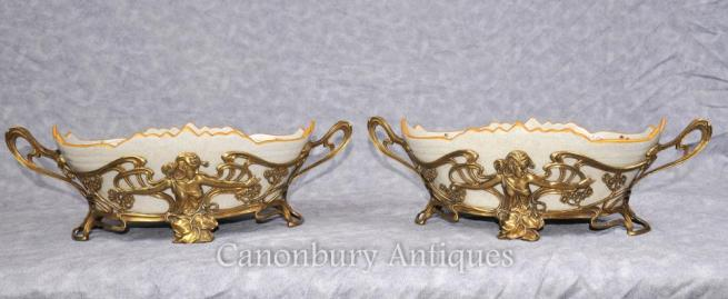 Pair French Art Nouveau Porcelain Bowls Floral Dishes Plates